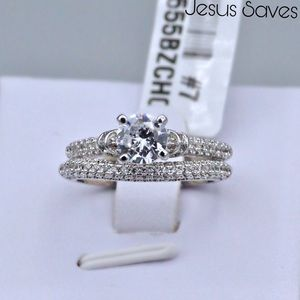 3W155 Stainless Steel CZ Rings 2pc Set
